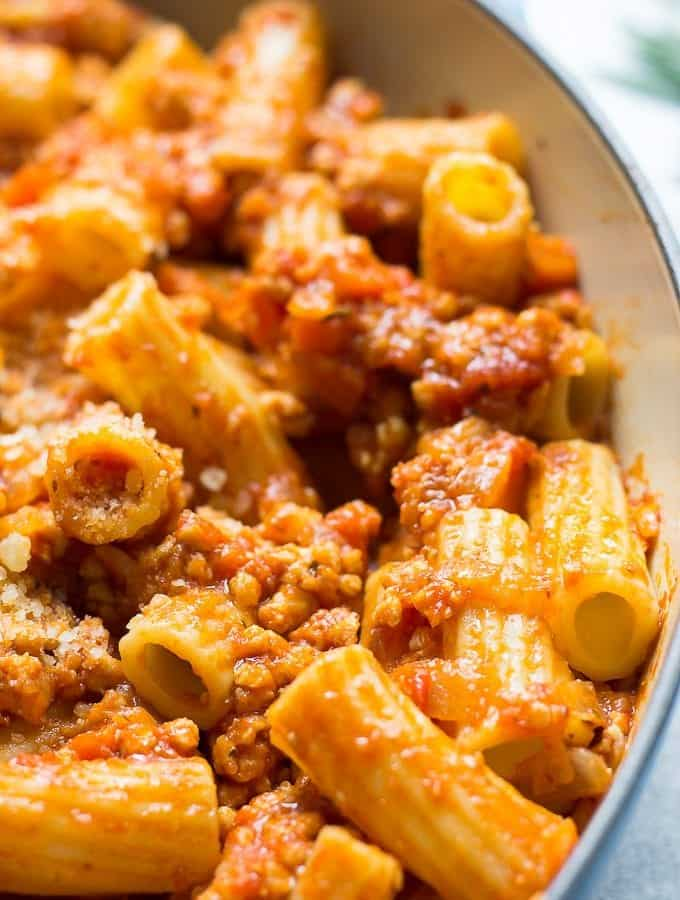 Chicken Ragu Pasta In A Pan