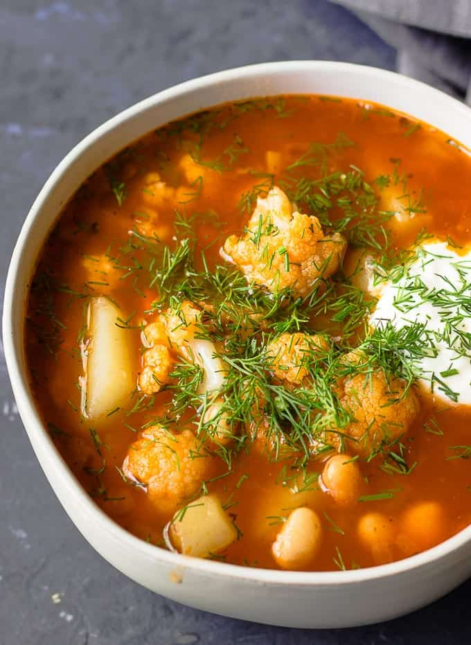 Bowl of Healthy Vegetable Soup With Cauliflower and Potatoes