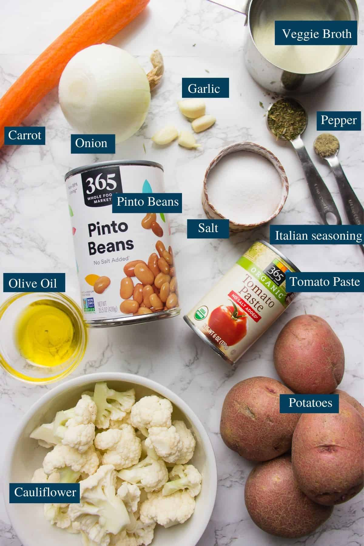 Ingredients for the Cauliflower bean soup