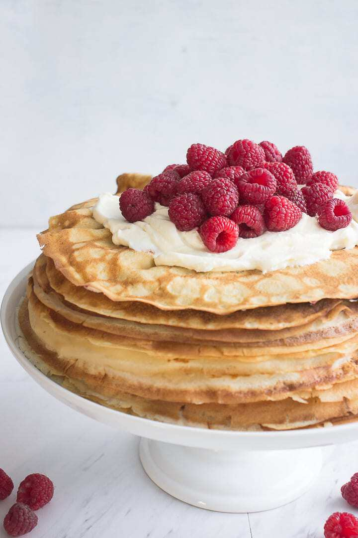 Raspberry And Mascarpone Cream topped Crepe Cake