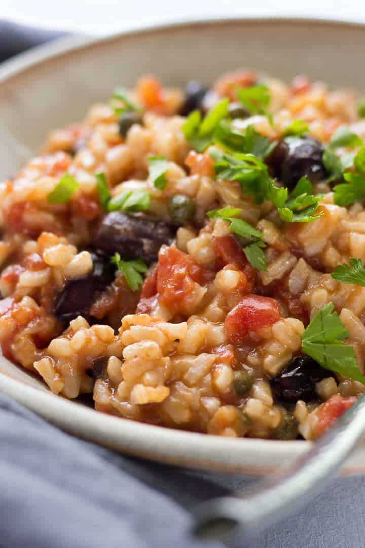 Risotto Puttanesca with olives and parsley