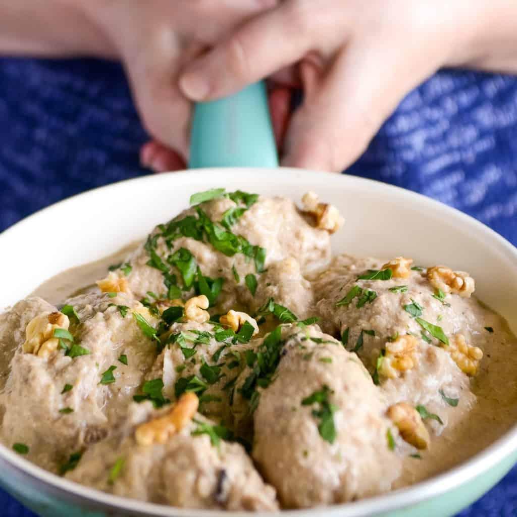 Georgian Satsivi in a pan