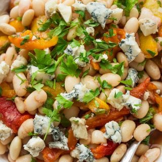 Cannellini beans salad with roasted bell peppers on a plate