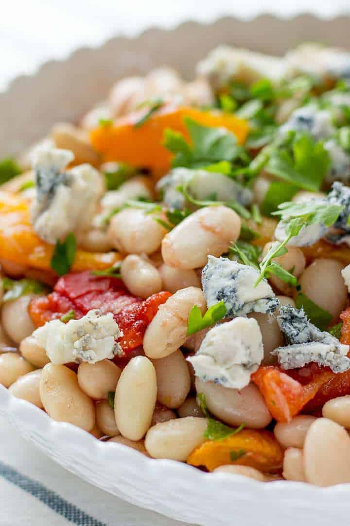 Roasted Bell Pepper, White Bean and Blue Cheese Salad