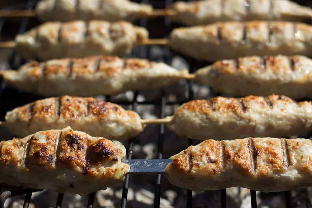 Georgian kebab on a grill