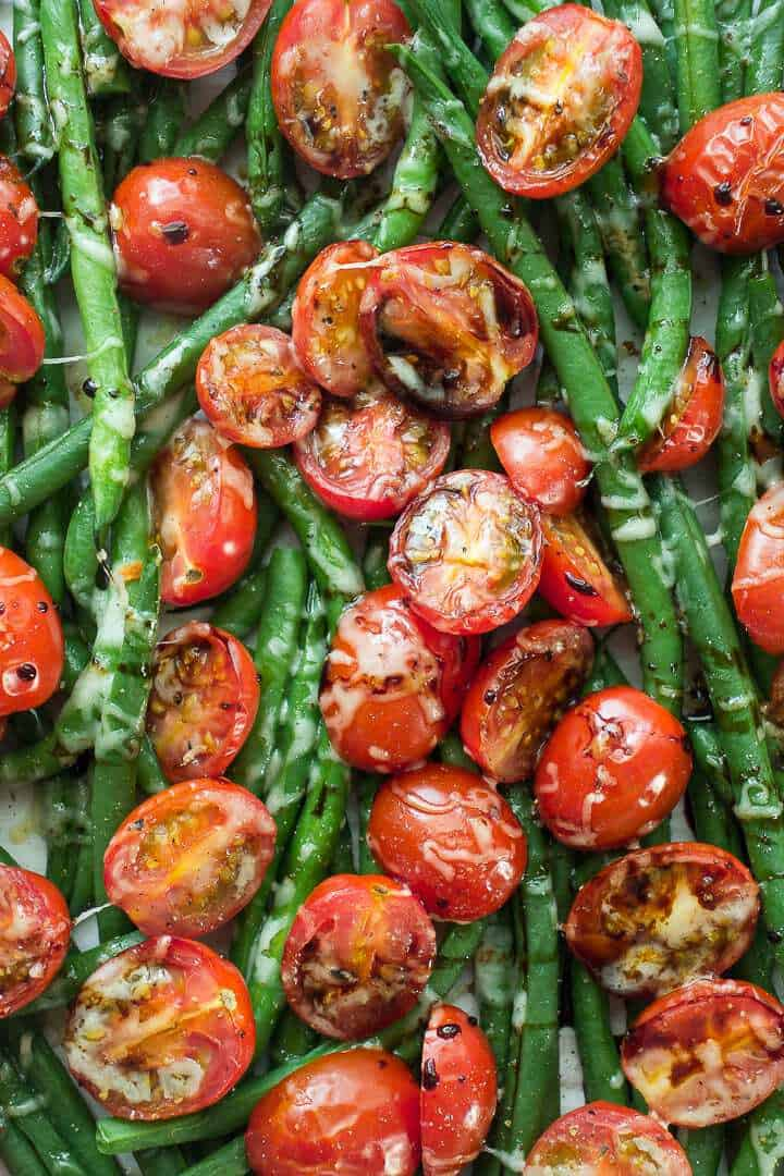 balsamic green beans with cherry tomatoes and parmesan