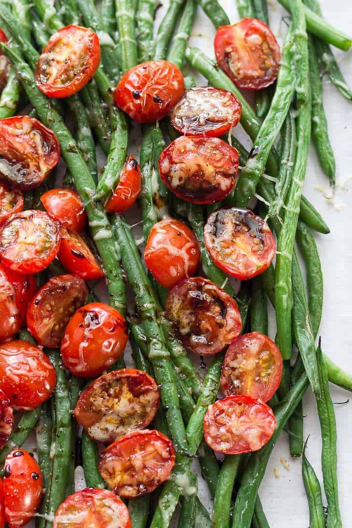 Sheet Pan Roasted Balsamic Green Beans With Cherry Tomatoes