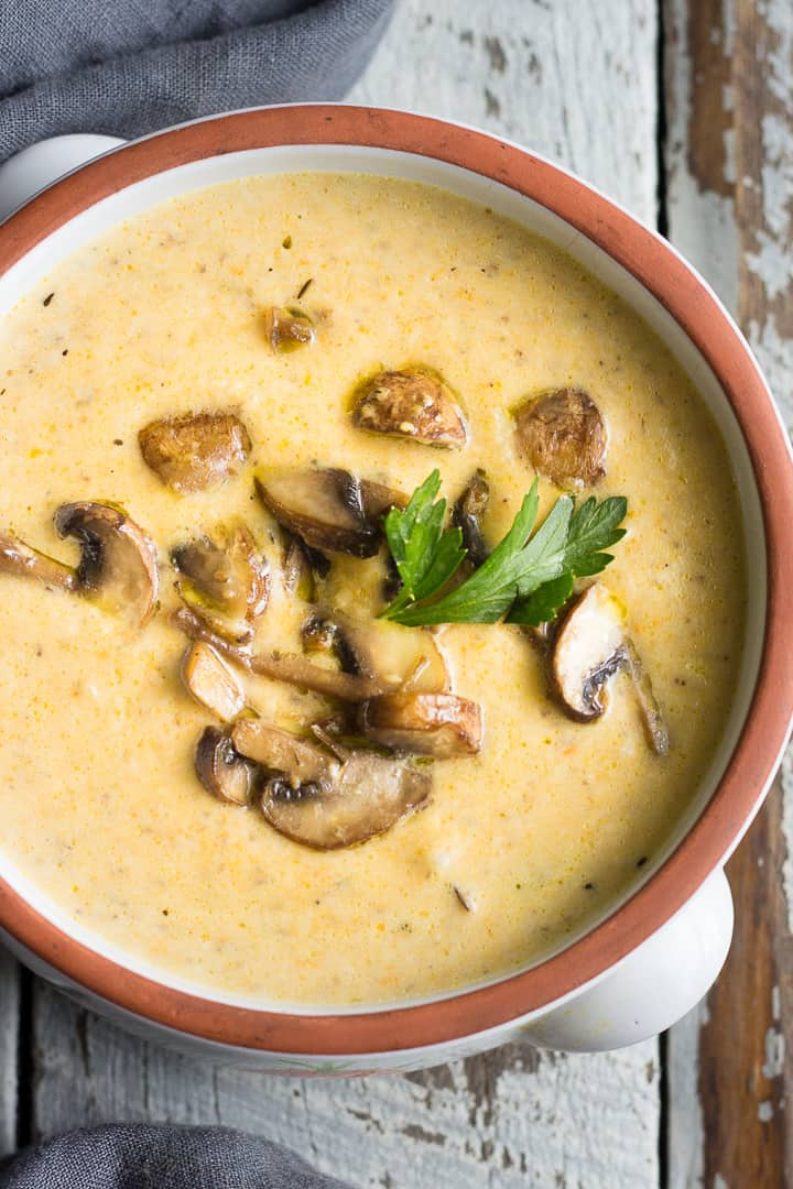 Ukrainian Mushroom Soup with sautéed mushrooms