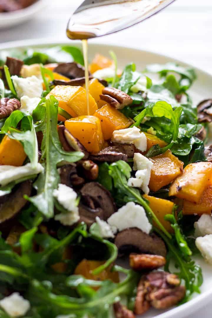 Roasted Butternut Squash Salad with arugula, mushrooms, pecans, Feta and Balsamic vinaigrette