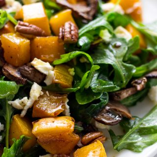 Roasted Butternut Squash Salad with arugula, mushrooms, pecans and Feta cheese