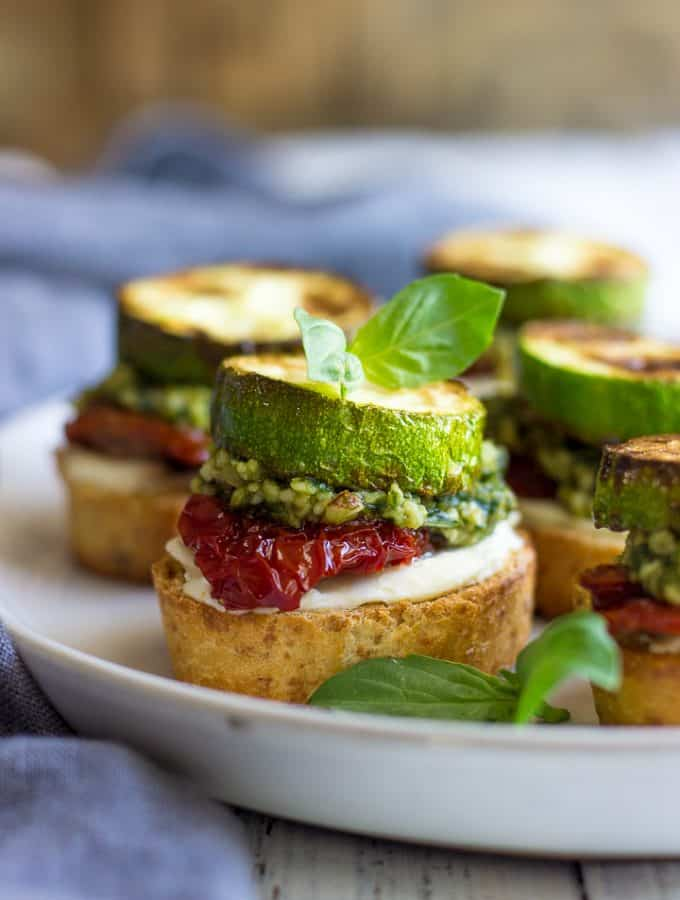 Bruschetta With Sun-Dried Tomatoes And Zucchini on a plate