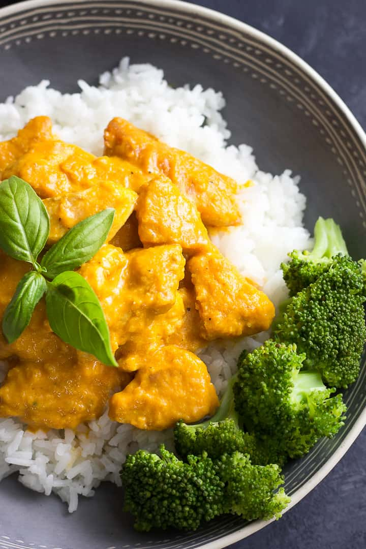 Chicken pumpkin curry with broccoli and rice