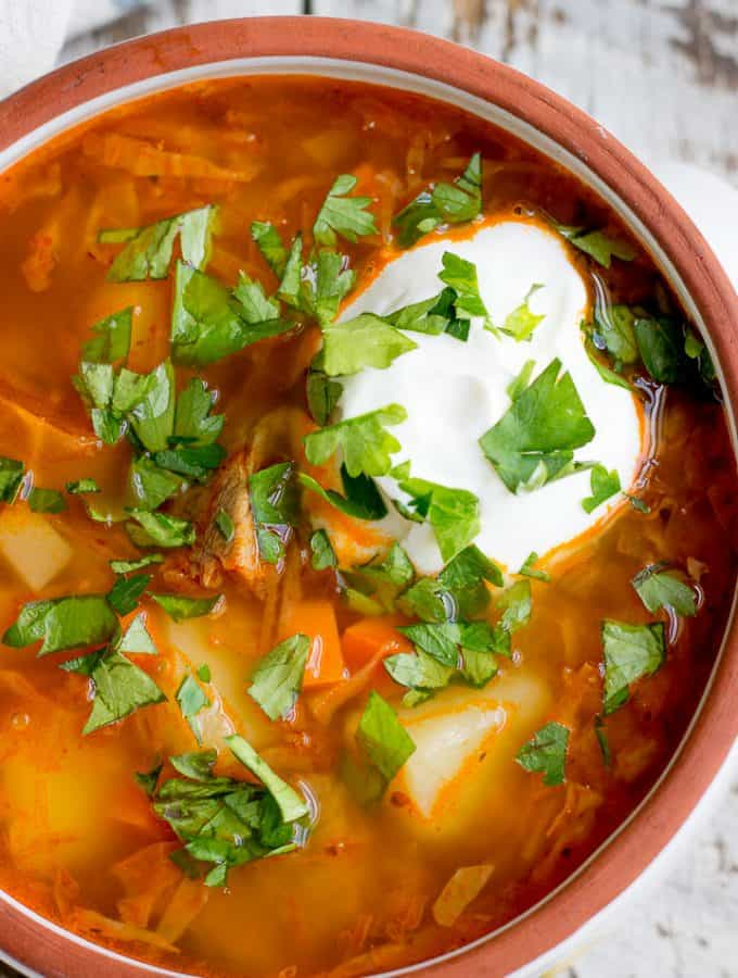 Shchi Soup with Sour Cream and Parsley