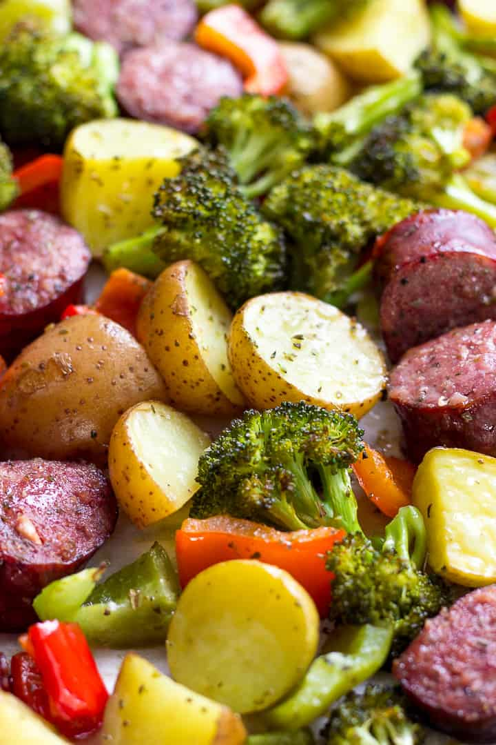Sheet Pan Roasted Kielbasa and vegetables