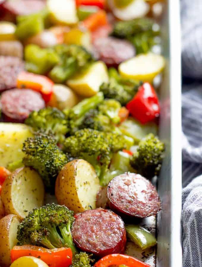 Roasted Kielbasa, Potatoes, Broccoli and Bell Pepper on a sheet pan