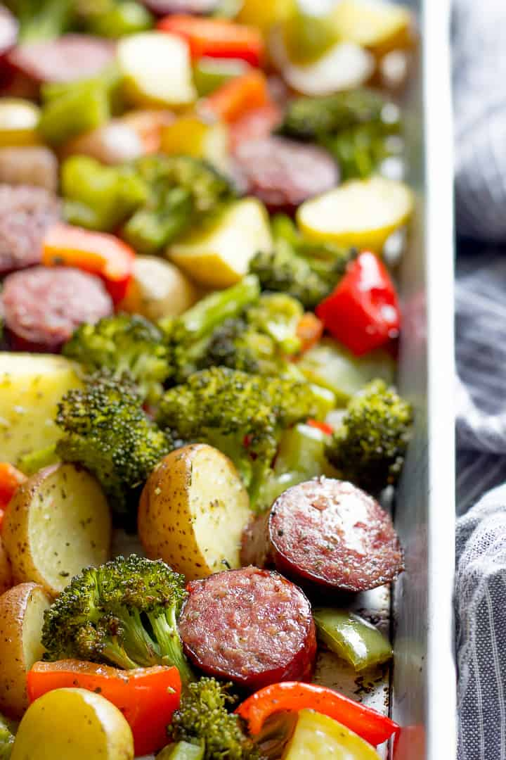 Roasted Kielbasa, Potatoes, Broccoli and Bell Pepper on a sheet pan