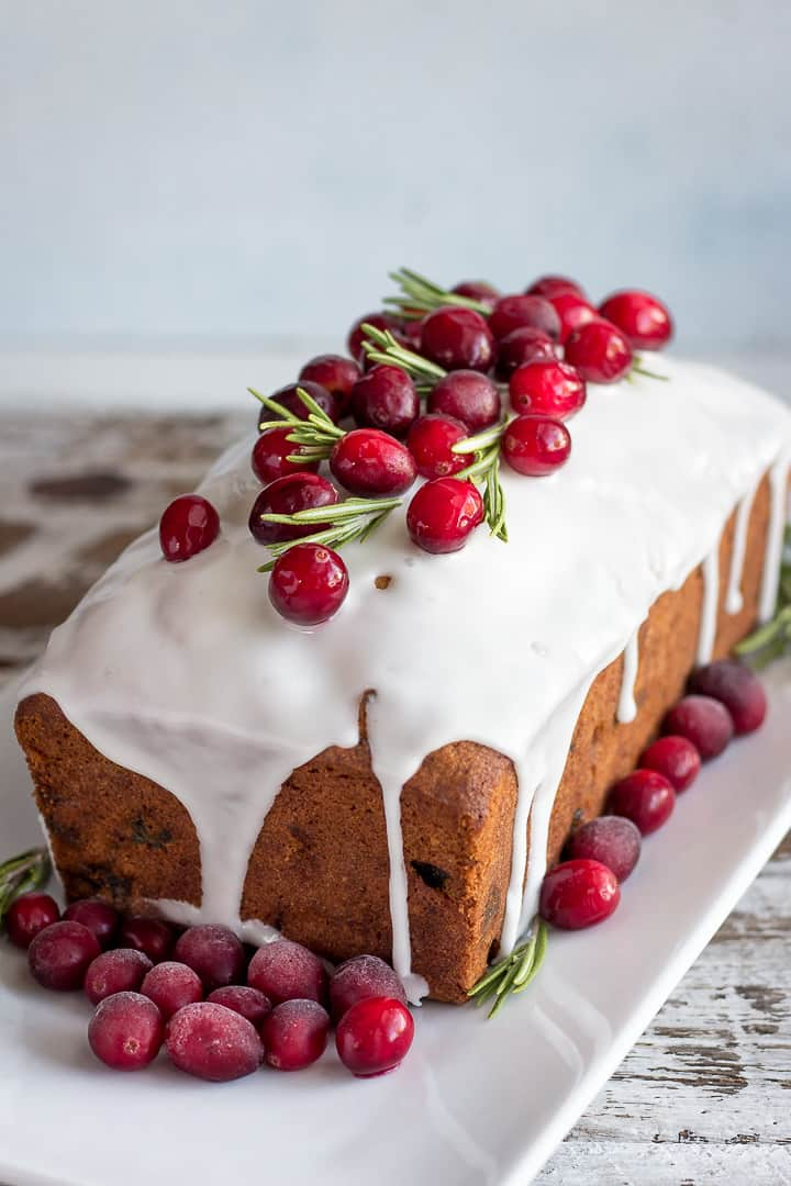 Christmas Fruit Cake Recipe against blue background
