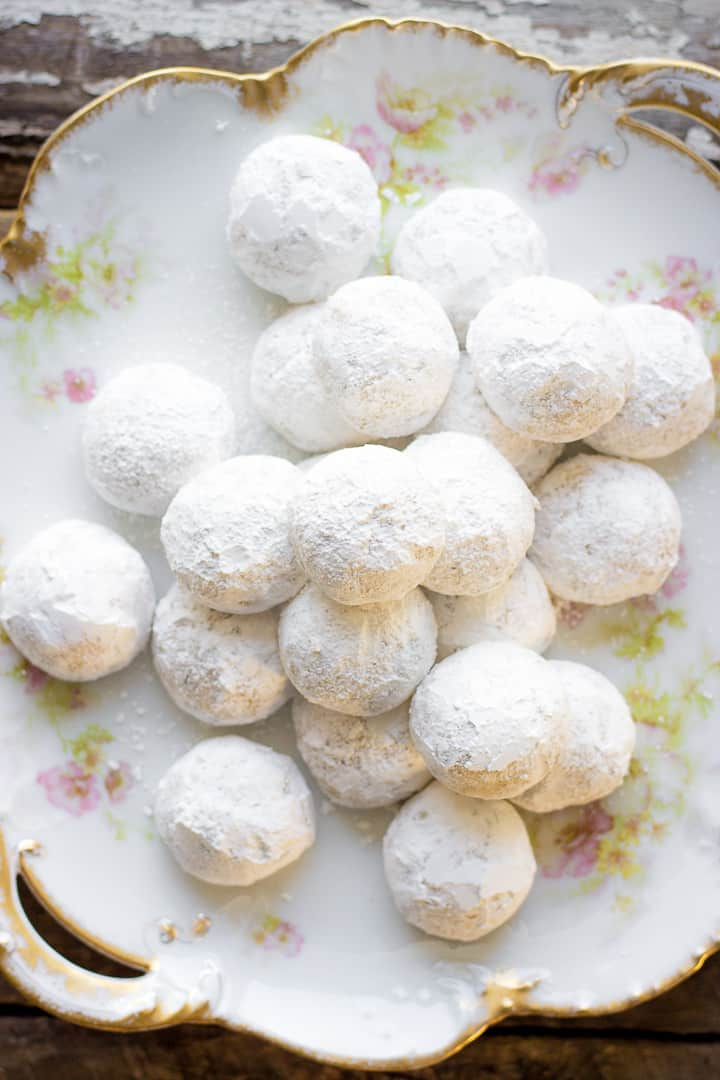 Russian Tea Cookies (Cakes) On A White Plate