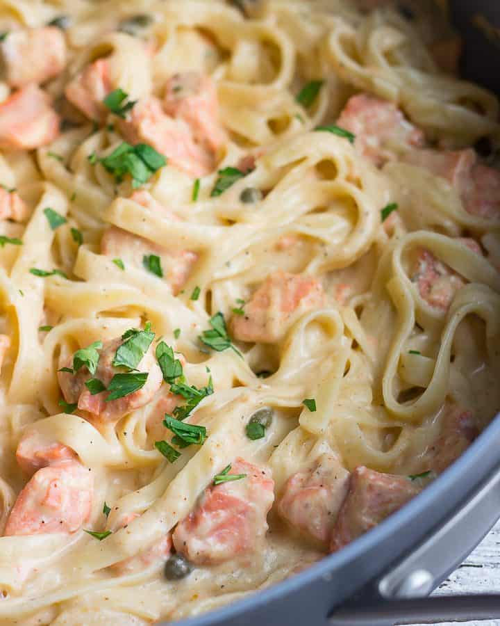 Creamy Salmon Pasta In Pan