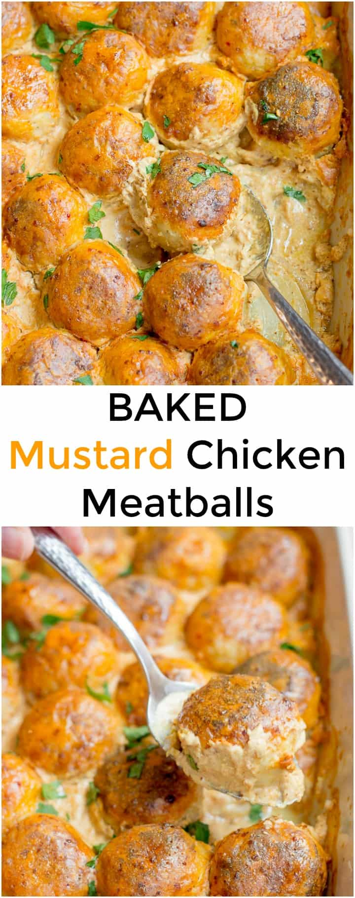 Collage image of Baked Mustard Chicken Meatballs