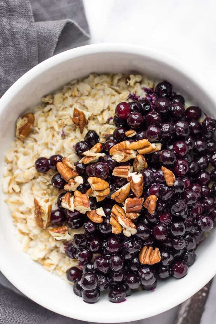 Healthy Oatmeal With Nuts And Frozen Blueberries