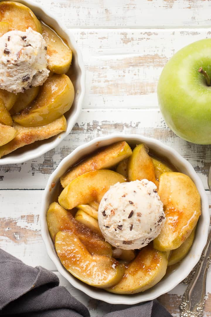 Baked Apples with ice-cream in a ramekin