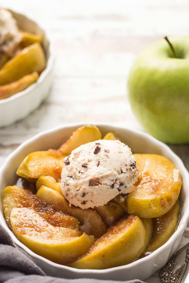 Baked Apple Slices With A Dollop Of Ice Cream