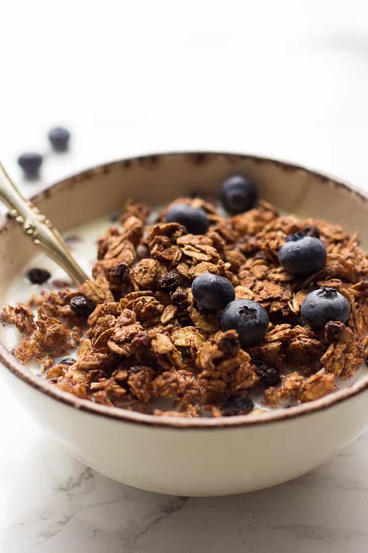 Healthy Vegan Granola in a bowl with milk