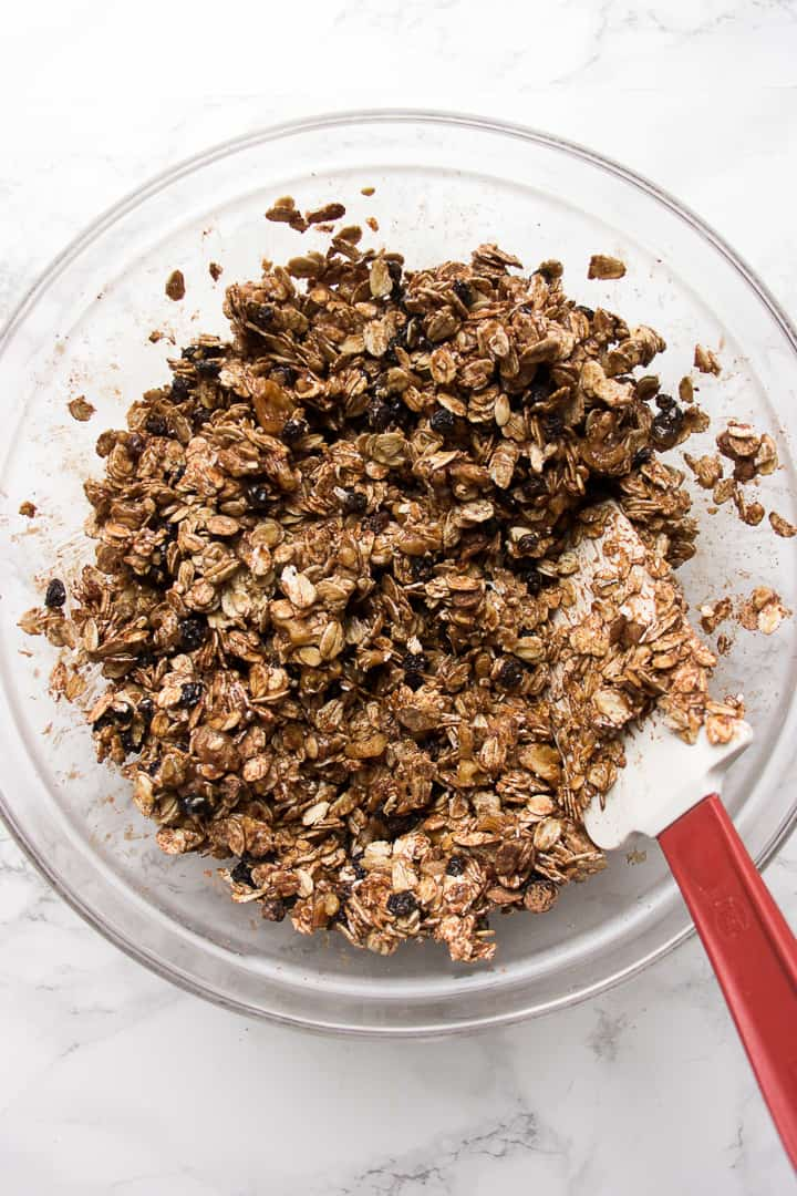 Mixing the ingredients for Chocolate Granola