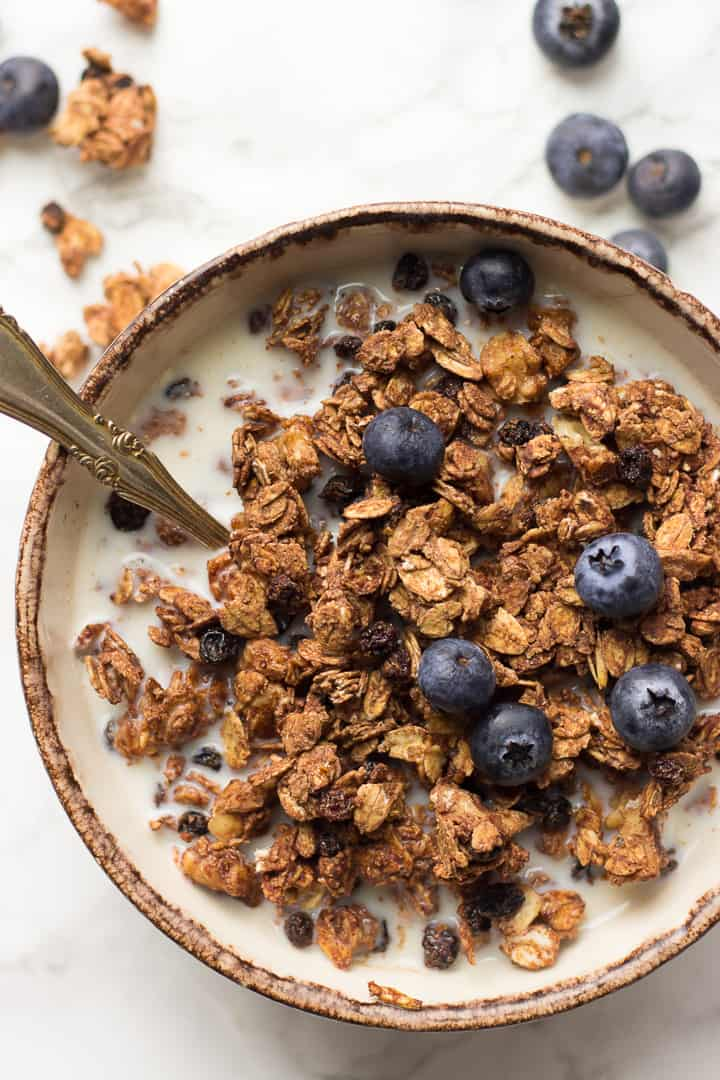 Vegan Chocolate Granola in a bowl