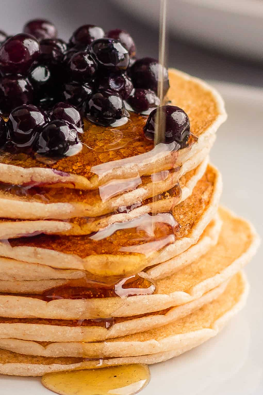 Maple syrup drizzle over Cassava flour pancakes