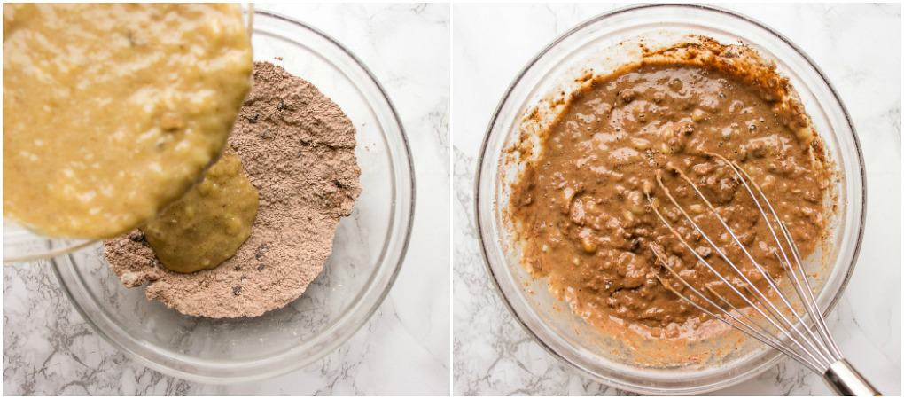combining wet and dry ingredients for chocolate yogurt muffins