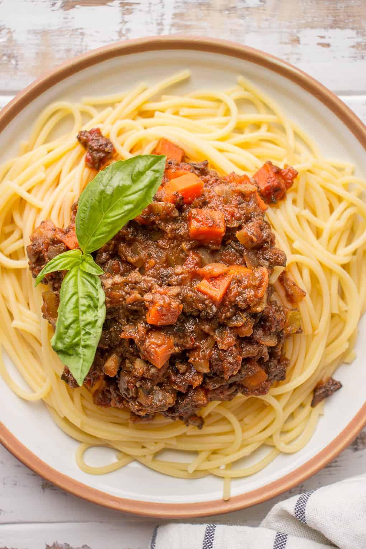 Vegan Bolognese With Mushrooms over spaghetti