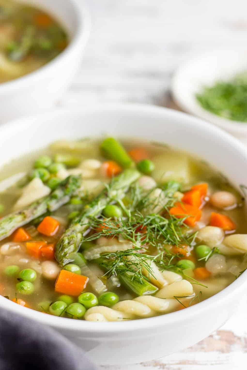 Spring Minestrone with asparagus and green peas