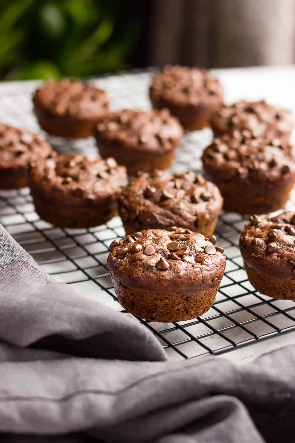 Vegan Chocolate Banana Muffins on a cooling rack