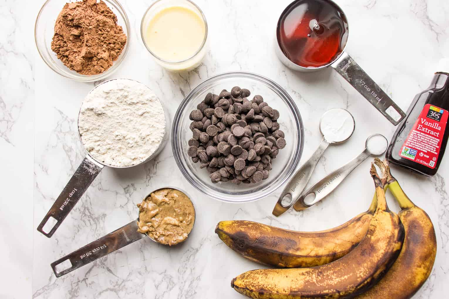 Ingredients for Banana Chocolate Muffins