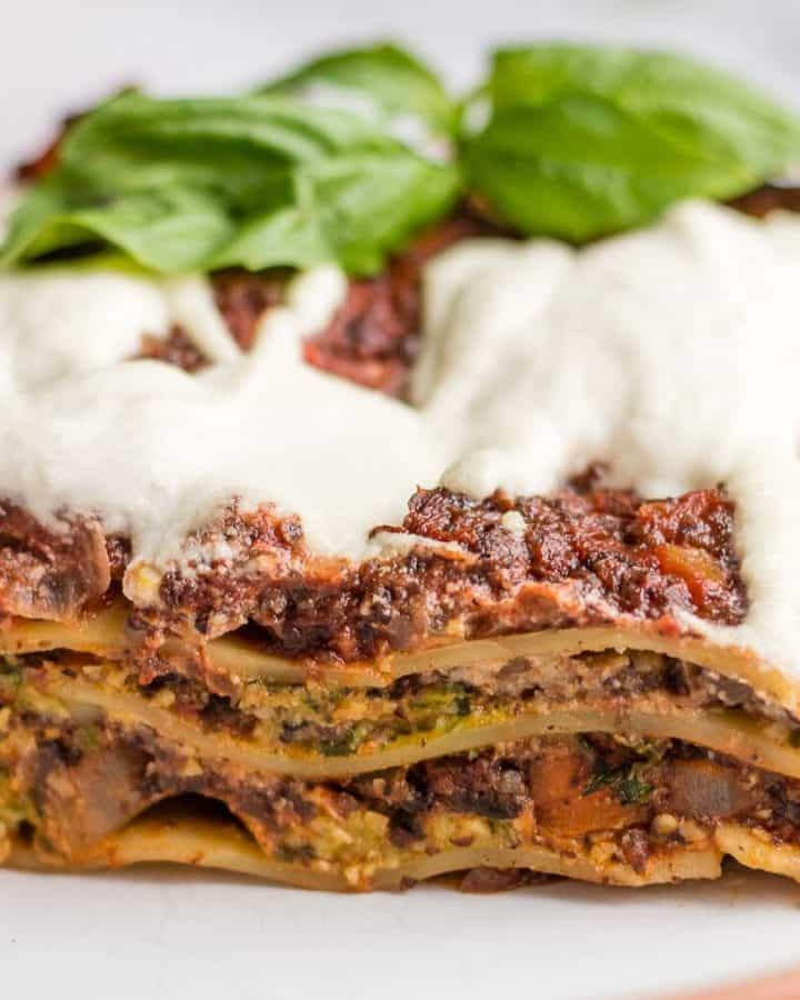 Slice of vegan lasagna