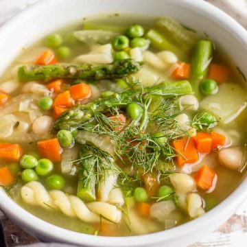 Homemade Asparagus and vegetables Minestrone