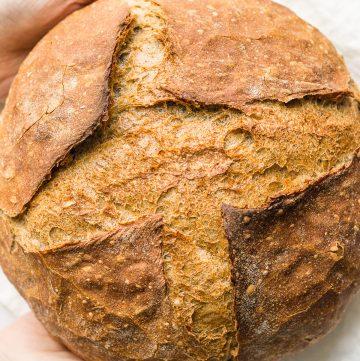 Holding a no-knead bread