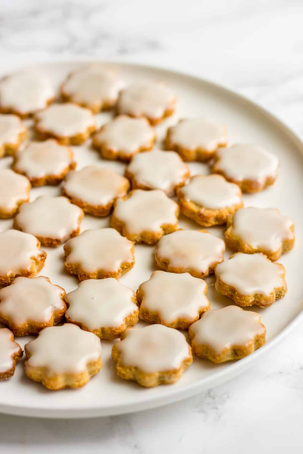 Almond Flour Cookies with Sugar Glaze on a plate