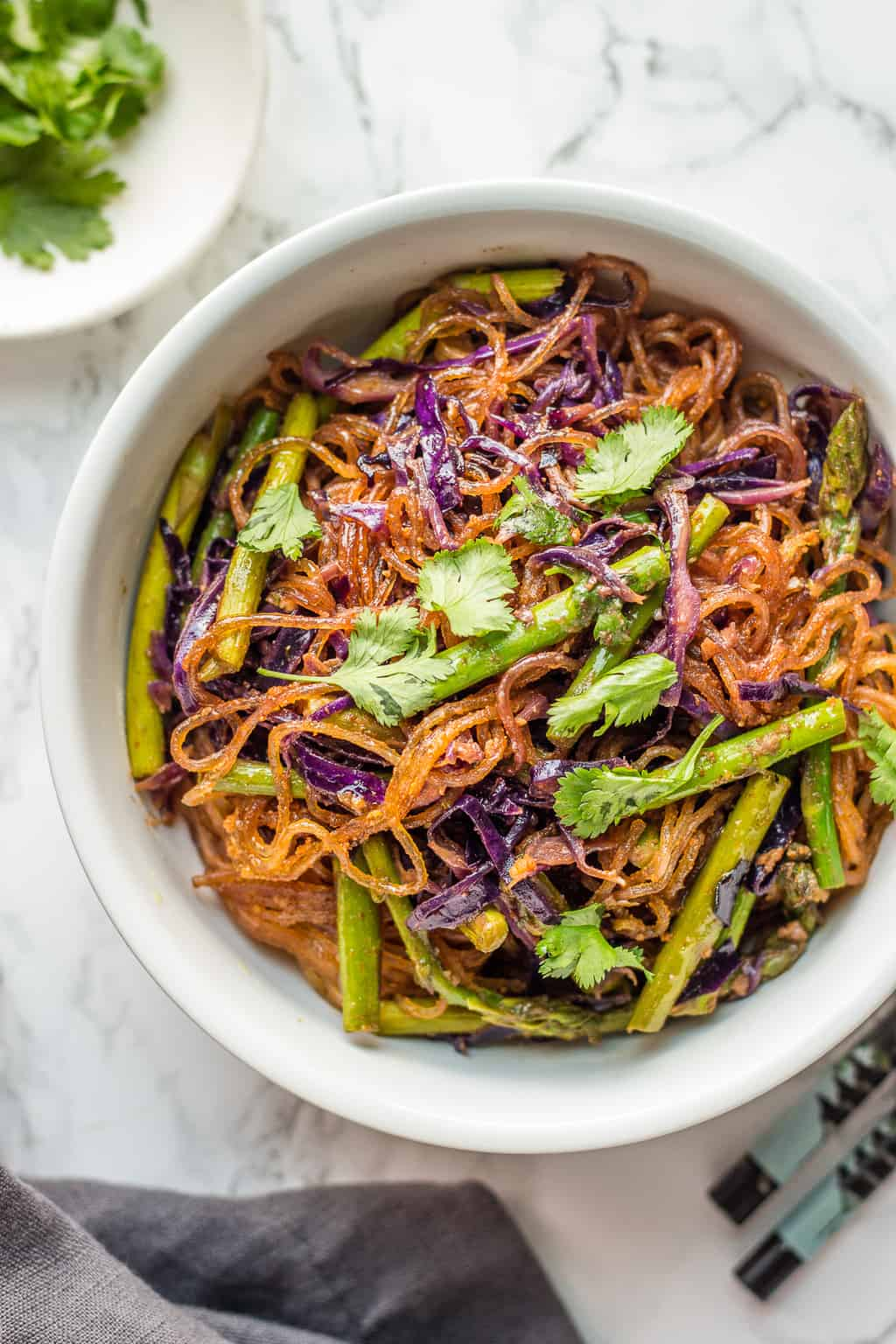 Cellophane noodle stir fry in a bowl