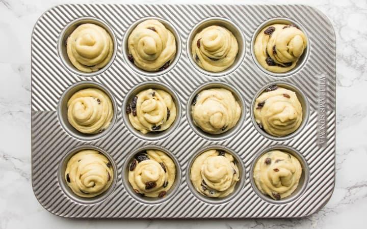 cruffins in a muffin tin