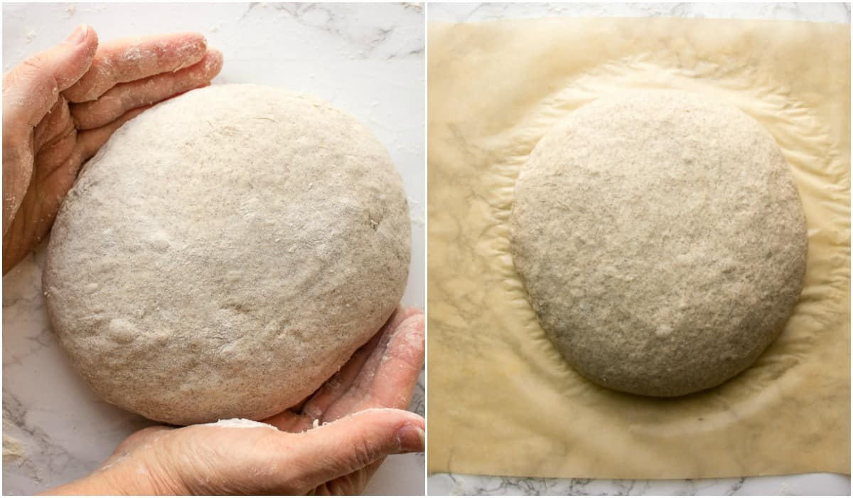 shaping the dough into a ball