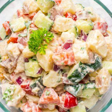 Photo of a healthy vegan potato salad in a bowl