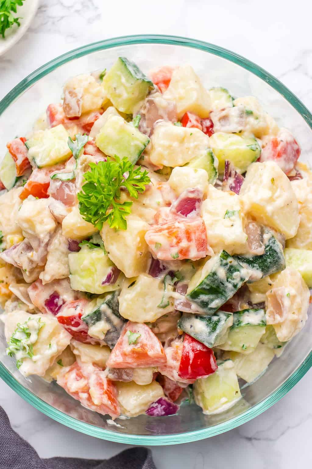 Photo of a healthy vegan potato salad in a bowl