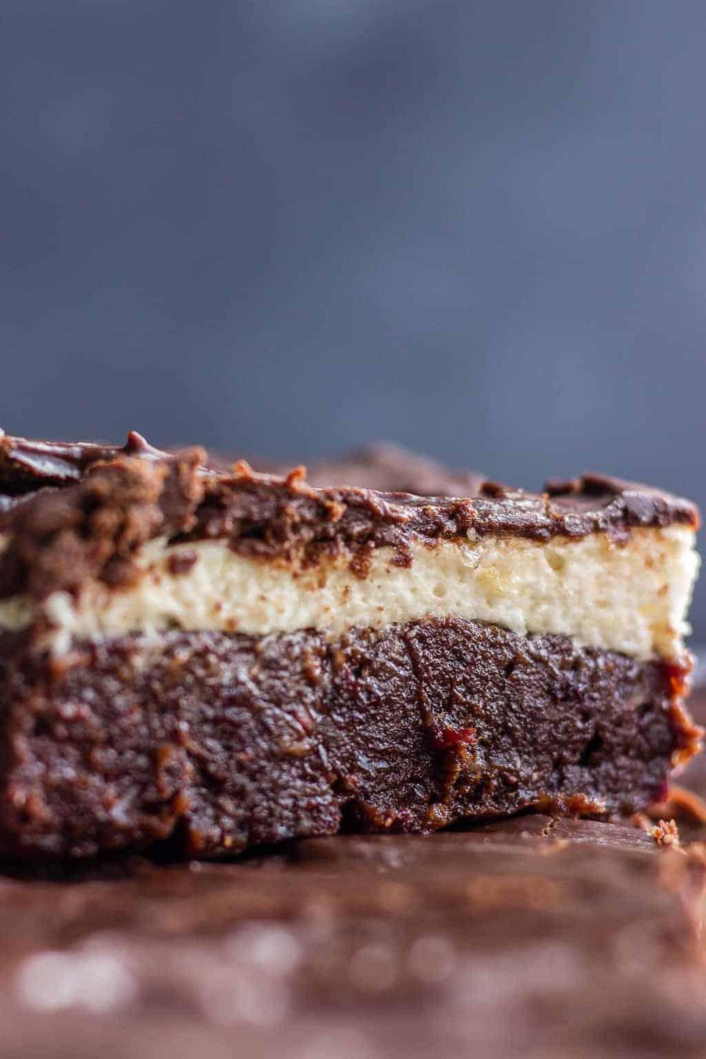 Cut up slice of no bake brownies