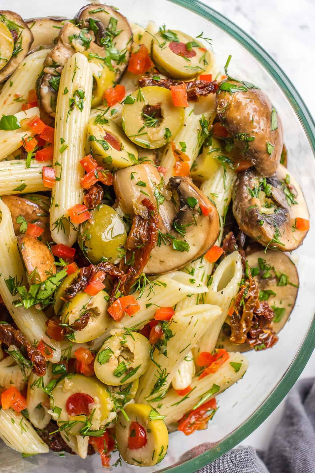 Marinated mushroom pasta salad in a bowl