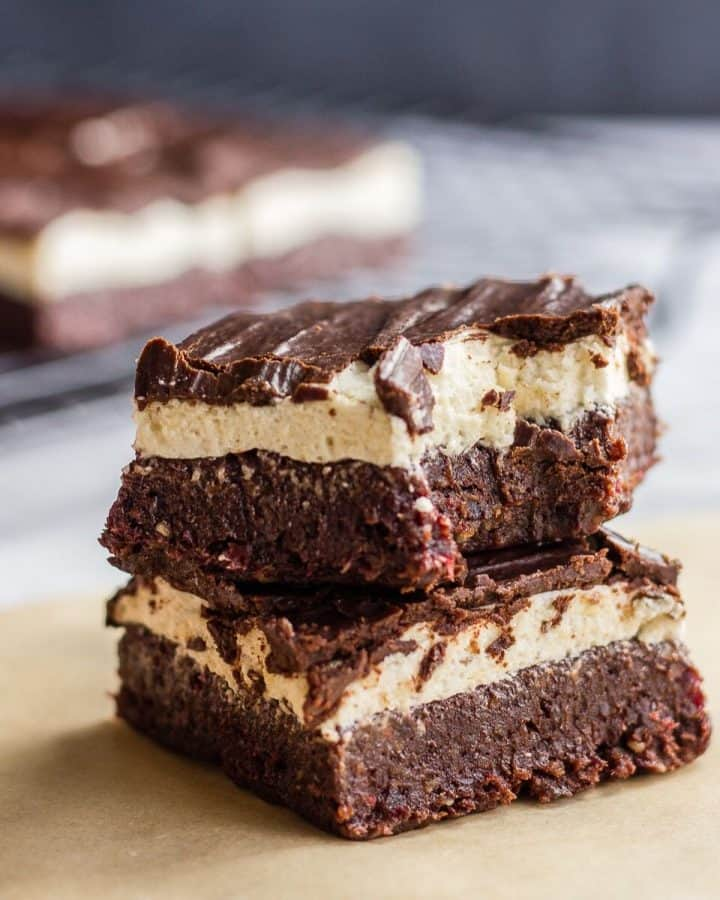 2 brownie bars on a parchment paper