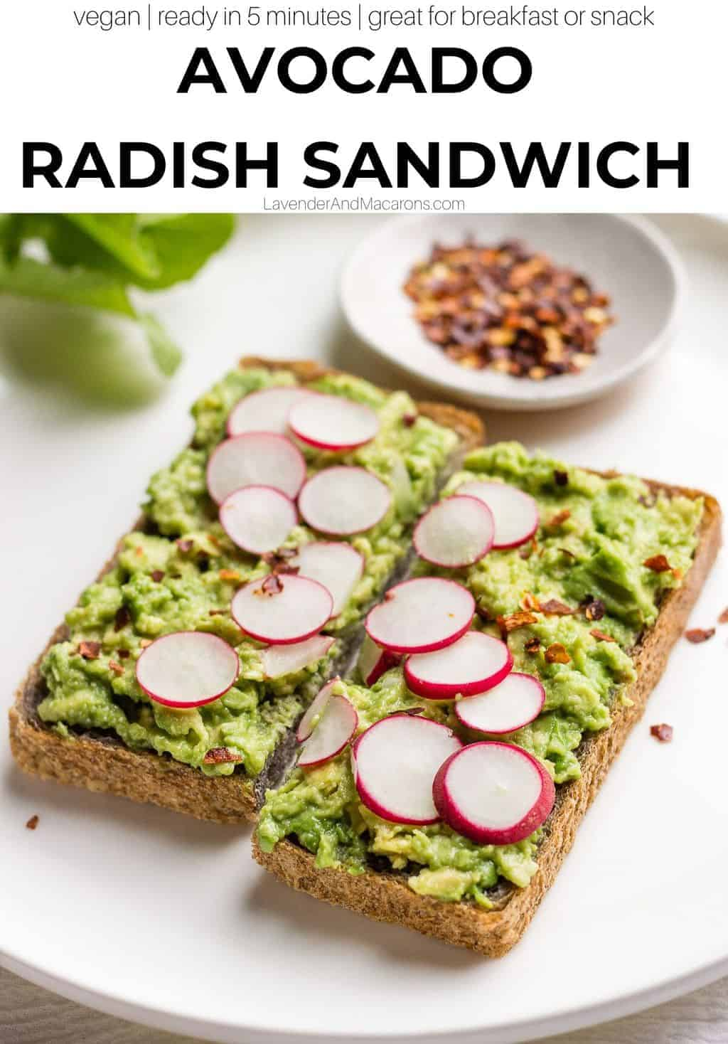 Avocado Radish Sandwich image with text overlay