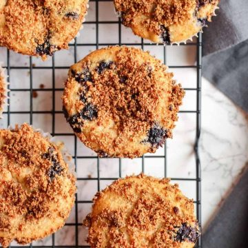 Healthy Vegan Blueberry Muffins with Streusel